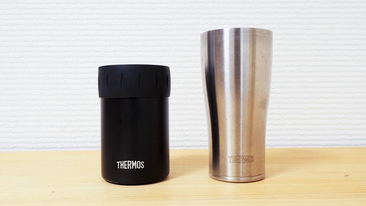 サーモス保冷缶ホルダー350ml  とサーモスステンレス真空断熱タンブラー420mlサイズ比較