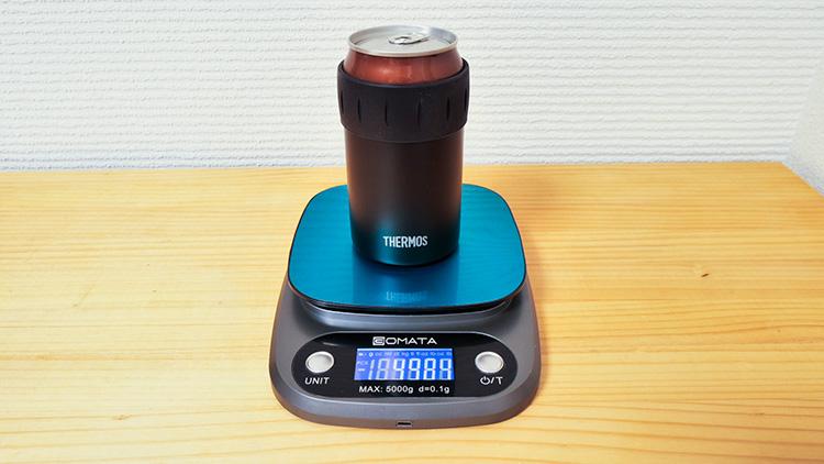 サーモス保冷缶ホルダー350ml缶を入れた状態の実測重量