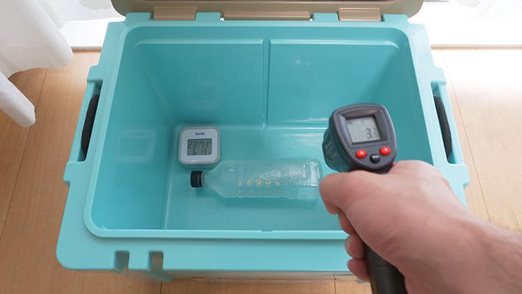 HYADクーラー27QT保冷力テスト 500mlペットボトル氷