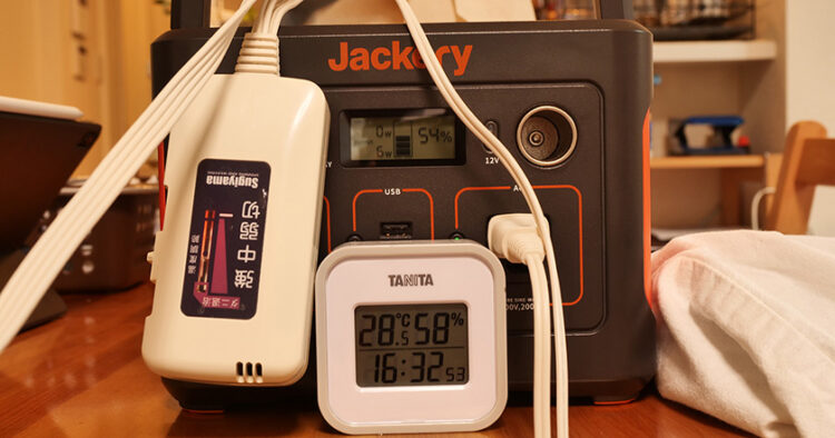 Jackery400+電気毛布の出力(中)約6時間後のバッテリー残量